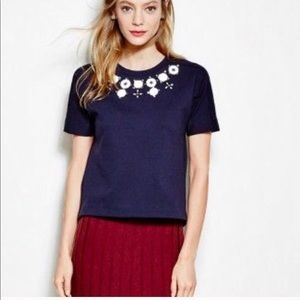 J. Crew navy blue structured necklace t-shirt